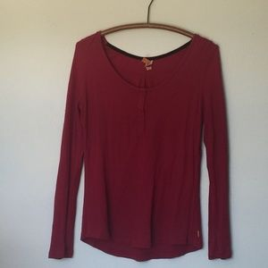 LUCY Red Waffle Thermal Snap Long Sleeve Henley XL